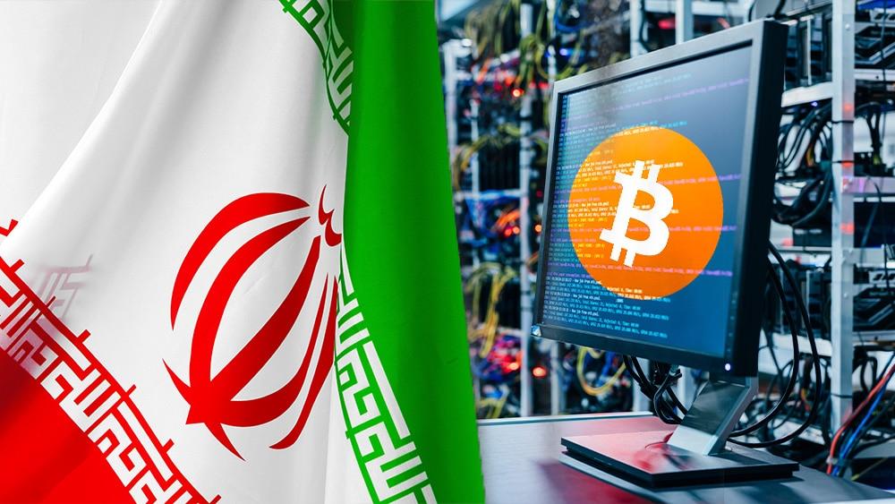 Granja bitcoin y bandera de Irán.