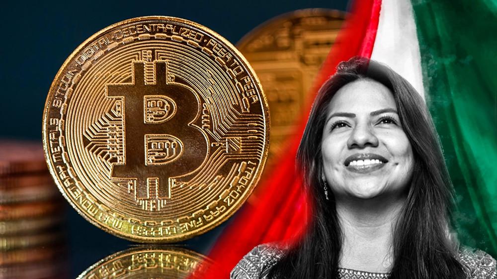 Kempis con bandera de México y bitcoin.