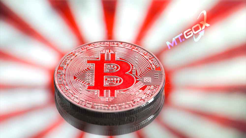 Bandera de Japón con bitcoin y logo de MTGox.