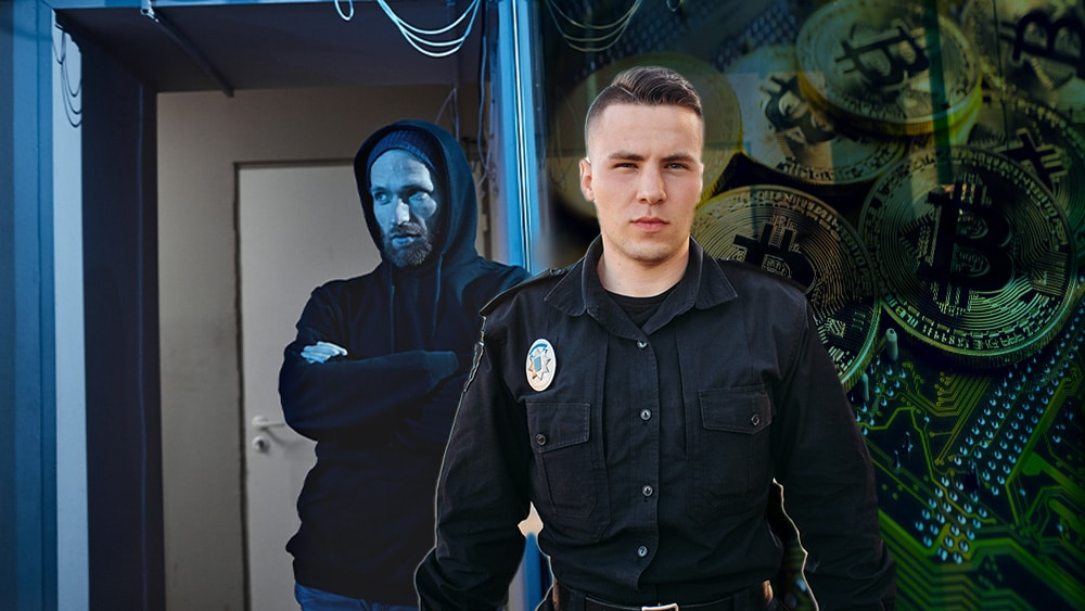 Policía y ladrón con btc de fondo.