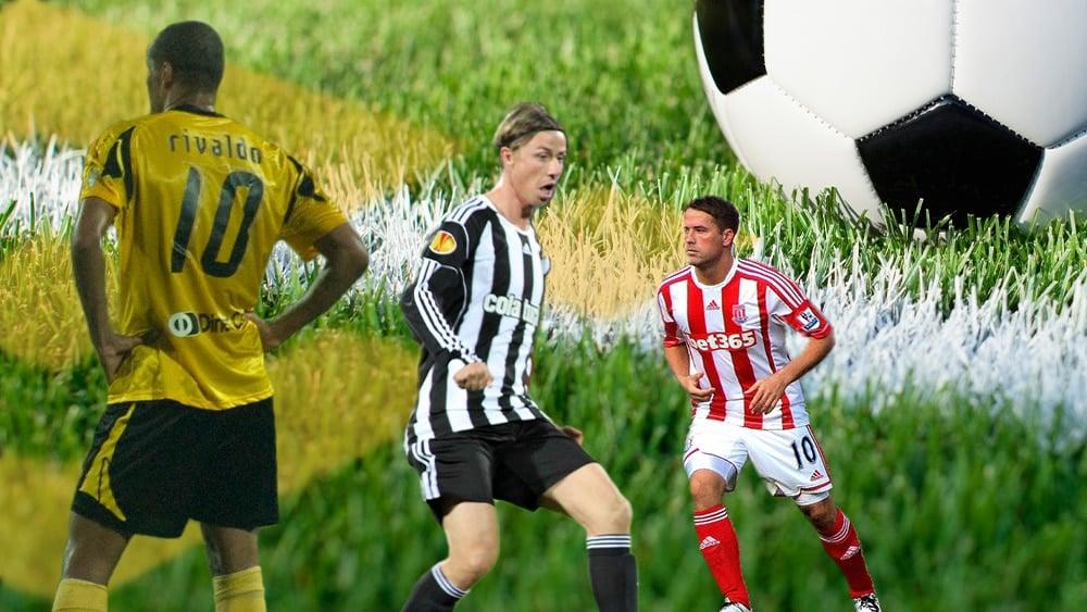 Rivaldo, Guti y Owen en campo de fútbol con balón, logo de Binance.