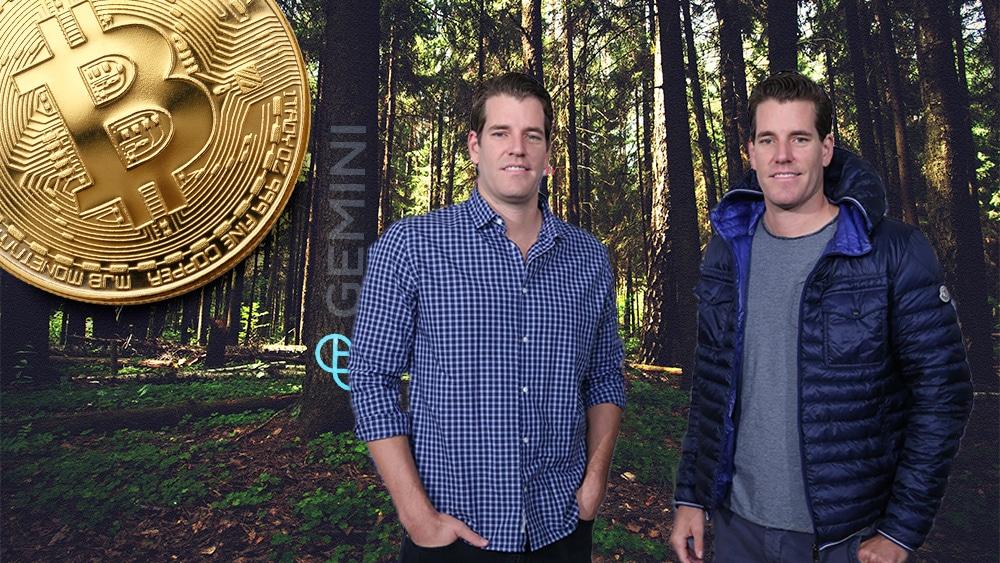 Winklevoss y bitcoin en el bosque con logo de Gemini.