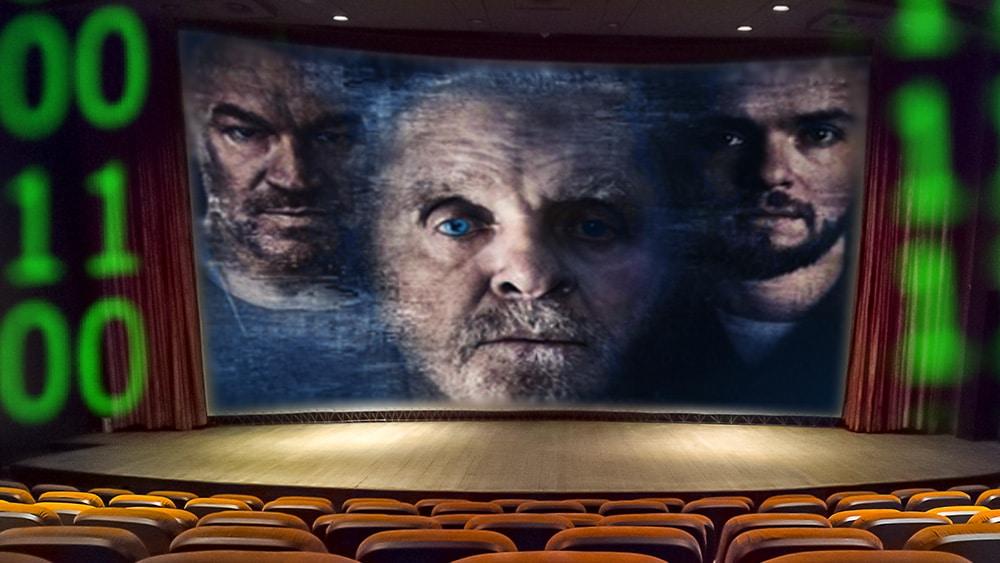 Sala de cine con póster de Zero Contact en pantalla.