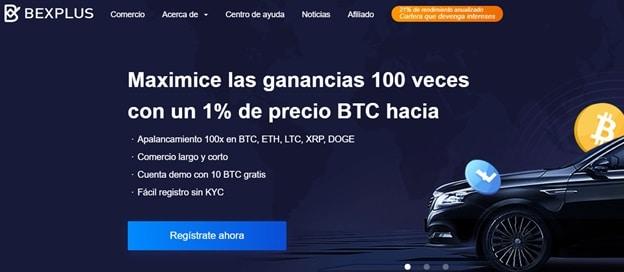 Pancarta promocional de apalancamiento del 100% de Bexplus