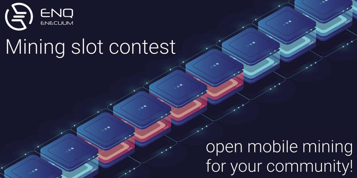 Pancarta de la blockchain enecuum promocionando concurso Mining Slot