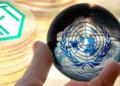 Aleph con logo de la ONU, BTC y NFT.
