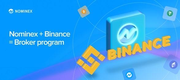 Logos de Binance y Nominex con criptomonedas girando alrededor como satelites.