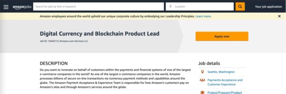 Oferta de puesto de trabajo de Líder de Productos Blockchain y Cripto.