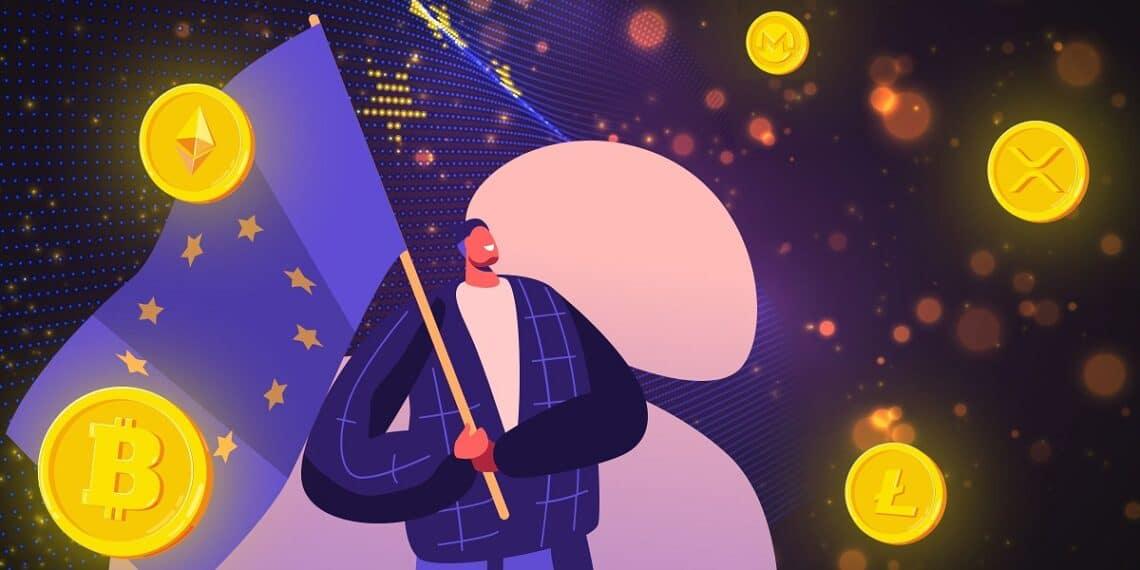Dibujo de un hombre con la bandera de la Union Europea y varias criptomonedas flotando