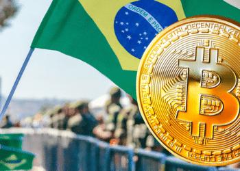 Bandera de Brasil y BTC.