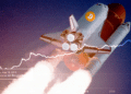 Cohete con logo de bitcoin