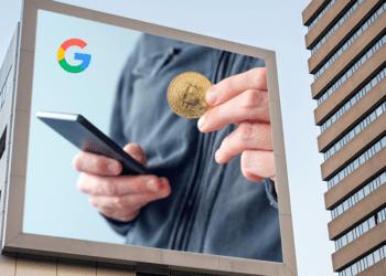 Publicidad de BTC y wallet con logo de Google.