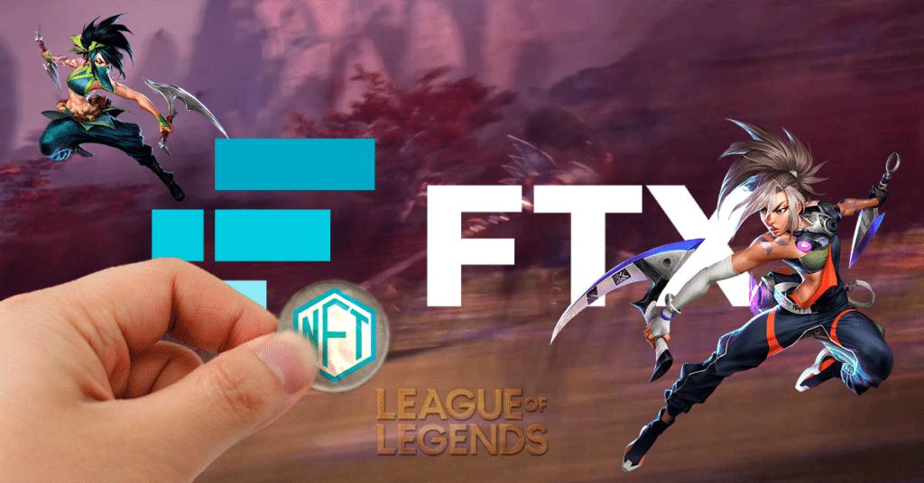 Escenario de LoL con logo de FTX y logo de NFT.