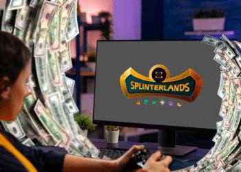 Persona jugando Splierlands con olas de dólares.