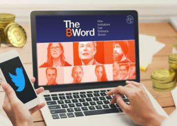 Pantalla con panelistas de The B Word y teléfono con TW y BTC.
