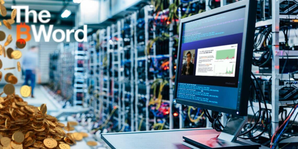 Granja de BTC, pila de bitcoins, pantalla con charla de Nick Carter y logo de The B Word.