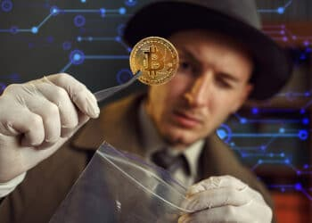 Detective con bitcoin y fondo tecnológico.