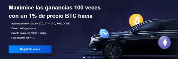 Pancarta promocional del apalancamiento 100x de Bexplus