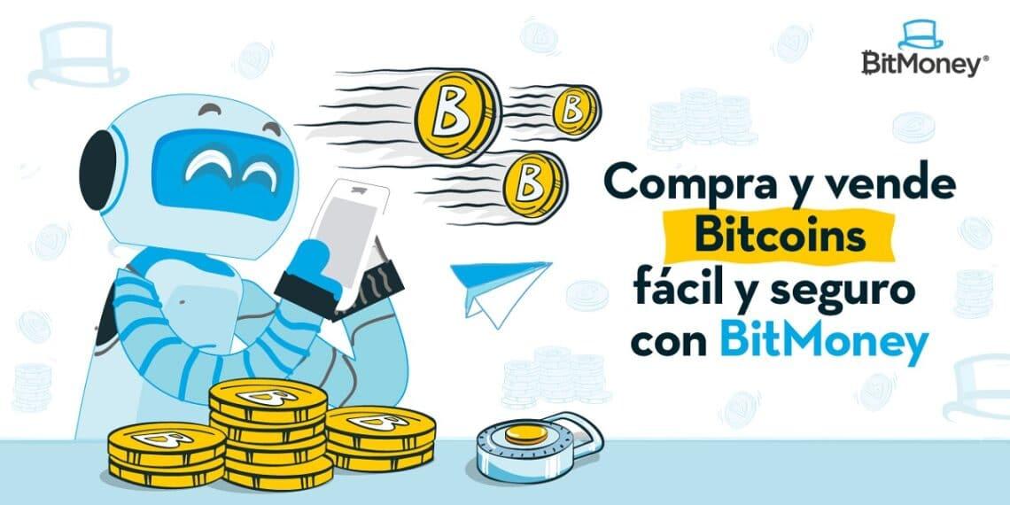 Robot con celular en manos y pila de monedas bitcoin