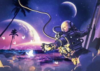 Astronauta en el espacio atrapando mariposas