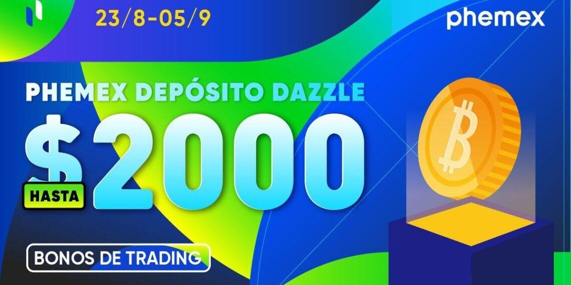Pancarta promocional del evento Deposito Dazzel del exchange Phemex