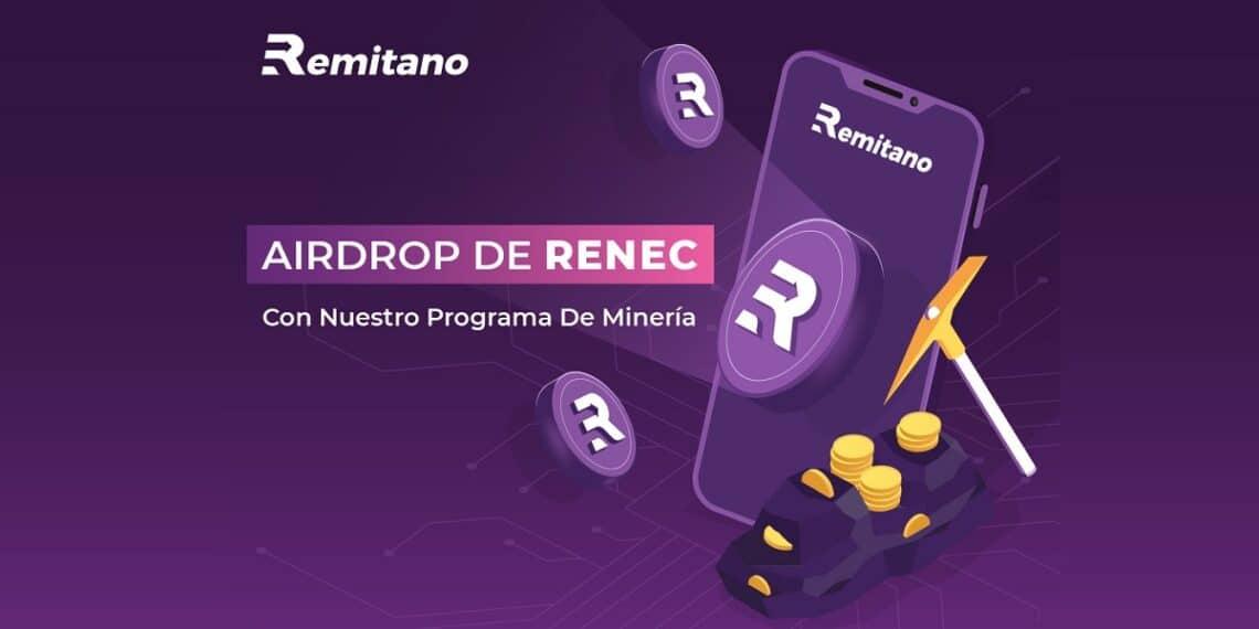 Pancarta promocional de la minería del token RENEC de Remitano