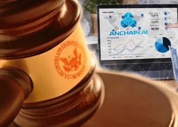 Pantalla con finanzas descentralizadas y logo de Anchain.AI y maso de juez con logo de SEC.