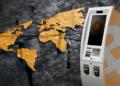 Mapa mundo con pins y cajero de BTC.