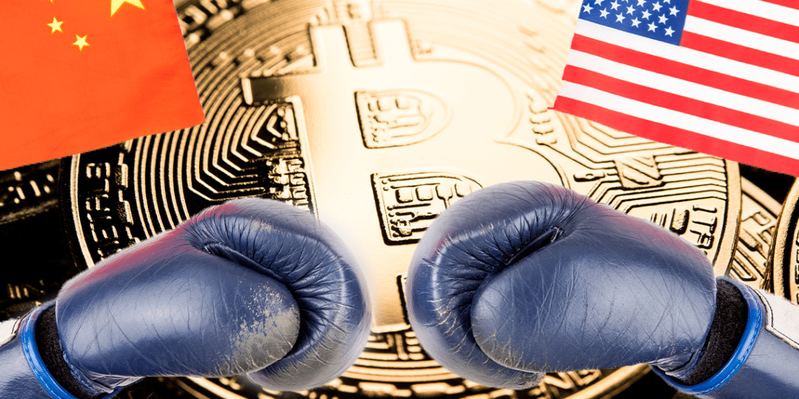China y USA con guantes de boxeo. BTC.