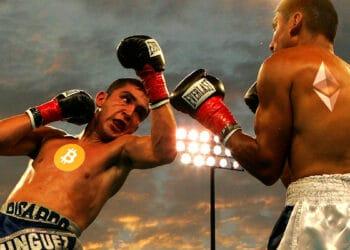 Boxeadores con logo de BTC y ETH.