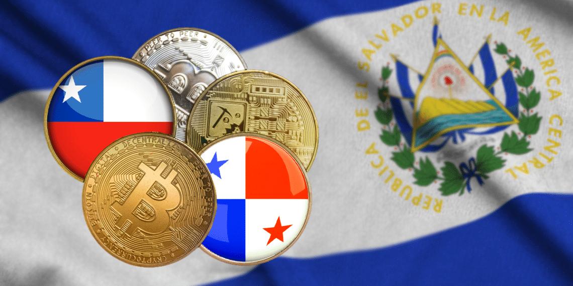 Bandera de El Salvador con BTC y bandera Panamá y Chile.
