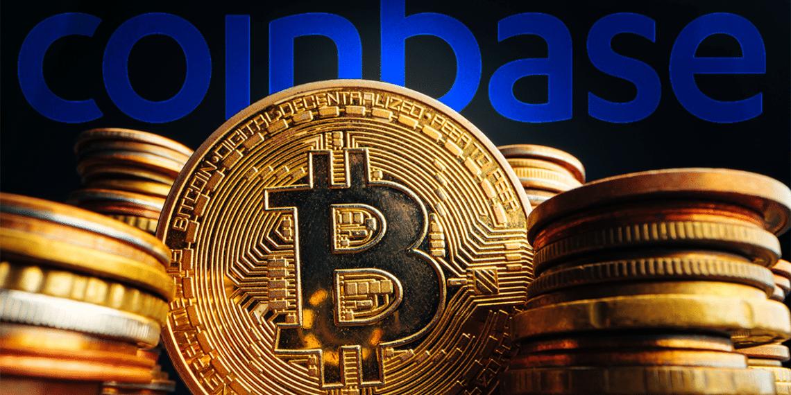 BTC y logo Coinbase.