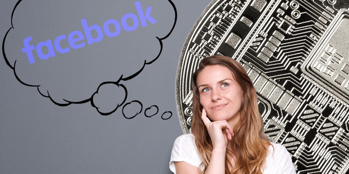 Persona pensando en Facebook con criptomoneda a fondo.