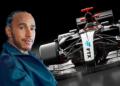 Hamilton, auto de F1 y logo de FTX.