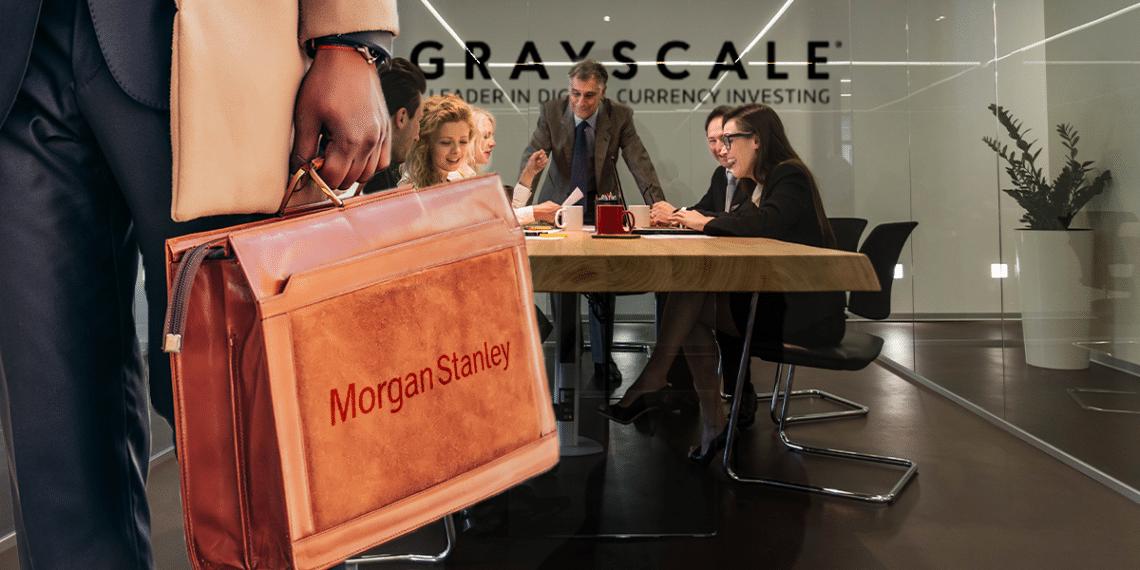 Oficina de Grayscale y persona con maletín de Morgan Stanley.