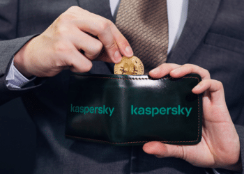 Billetera BTC con logo de Kapersky.