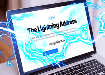 Pantalla con home de The Lightning Address y relámpagos.