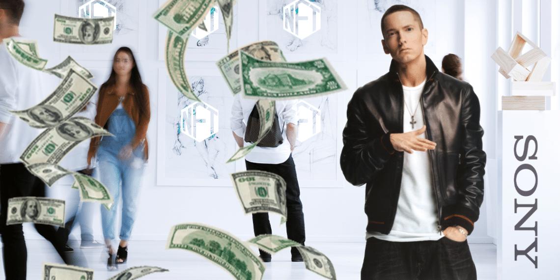 NFT y dinero, con Eminem y logo de Sony.