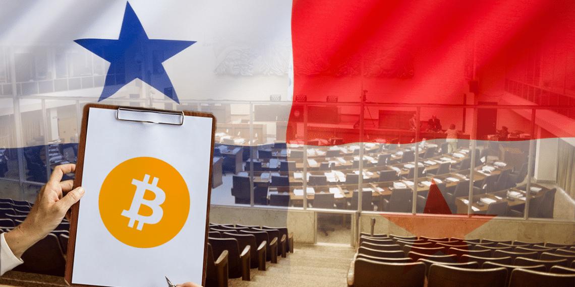 Asambla de Panamá con su bandera y hoja con BTC.