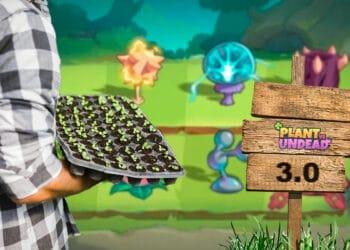 Cultivador en granja con cartel de PLant vs Undead 3.0