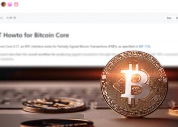BTC con pantalla de PSBT Bitcoin Core.