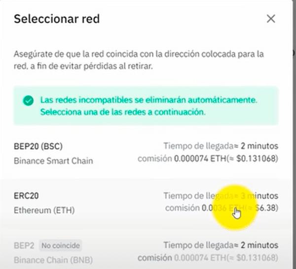 Elegir la red adecuada antes de trasferir ETH a MetaMask