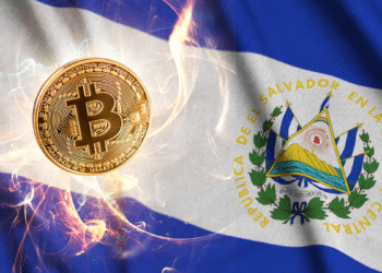 Bandera de El Salvador con BTC resplandeciente.