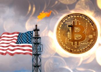 Torre de gas quemado con bandera de USA y BTC.