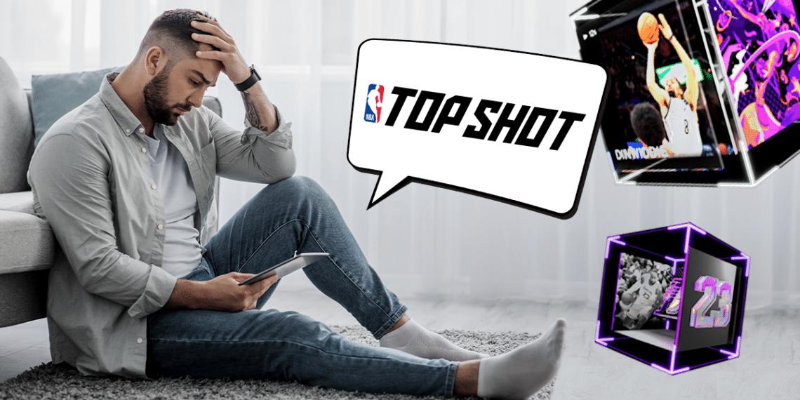 Persona triste con logo de top shot y tokens.