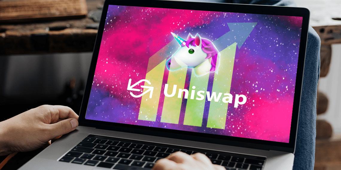 Uniswap con flecha de crecimiento.