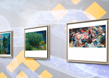 Van Gogh, Monet, Kandinsky, blockchain y logo de Binance.