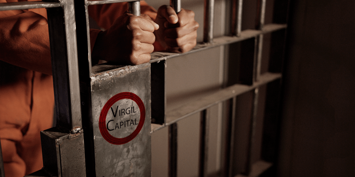 Cárcel con logo de Virgil Capital.