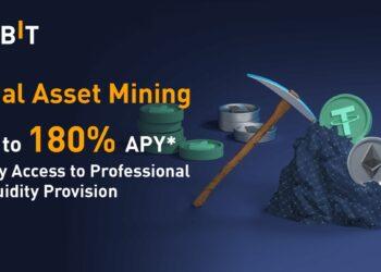 Cartel promocional de la mineria dual de activos de Bybit con unas monedas de Tether y ETH en una mochila