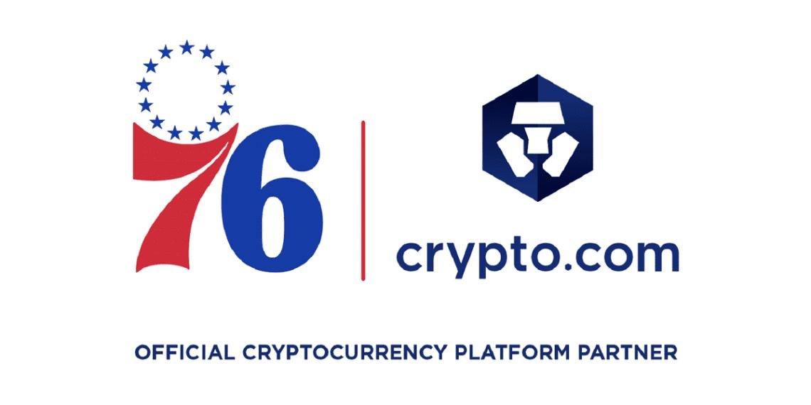 Logos de Crypto.com y del equipo de basketball Philadelphia 76ers